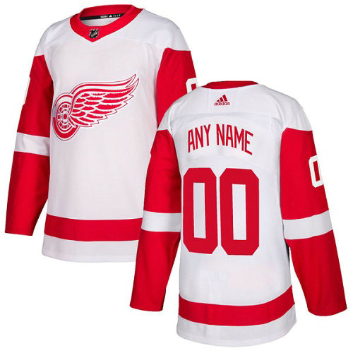 Men's Adidas Red Wings Personalized Authentic White Road NHL Jersey
