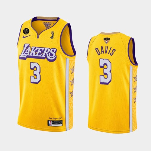 Men's Anthony Davis Lakers 2020 Finals Champions Gold Jersey Stitched
