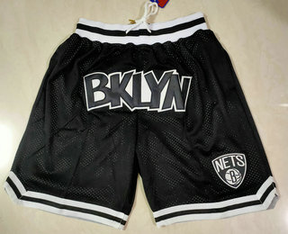 Men's Brooklyn Nets Black Just Don Swingman Throwback Shorts