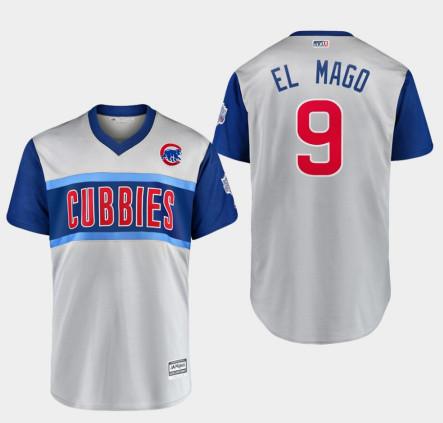 Men's Chicago Cubs Javier Baez #9 Gray 2019 Little League Classic El Mago Jersey