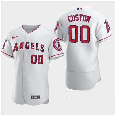 Men's Los Angeles Angels Custom Nike White Flexbase Jersey