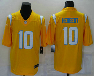 Men's Los Angeles Chargers #10 Justin Herbert Gold 2021 Inverted Legend Stitched NFL Nike Limited Jersey