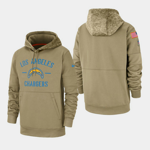 Men's Los Angeles Chargers Tan 2019 Salute to Service Sideline Therma Pullover Hoodie