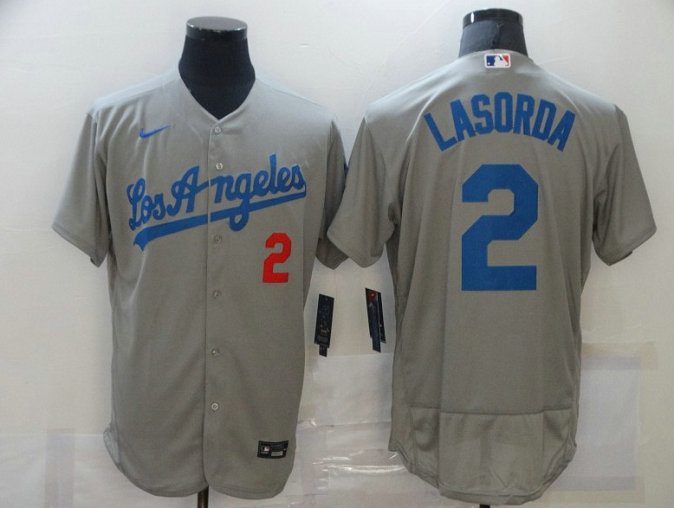 Men's Los Angeles Dodgers #2 Tommy Lasorda Grey Flex Base Sttiched Jersey