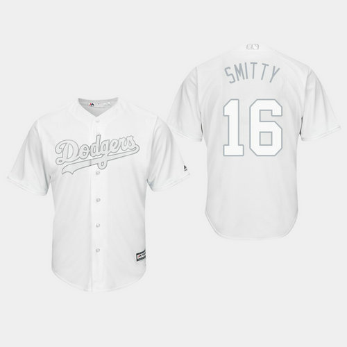 Men's Los Angeles Dodgers Will Smith #16 White 2019 Players' Weekend Smitty Jersey