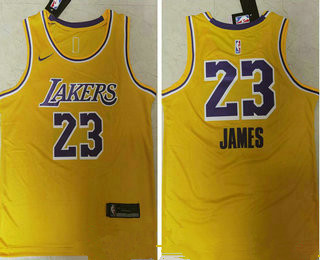 Men's Los Angeles Lakers #23 LeBron James Yellow NEW 2021 Nike Swingman Stitched NBA Jersey_副本