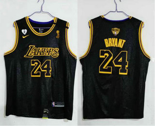 Men's Los Angeles Lakers #24 Kobe Bryant Black 2020 NBA Finals Champions Nike City Edition Stitched Jersey