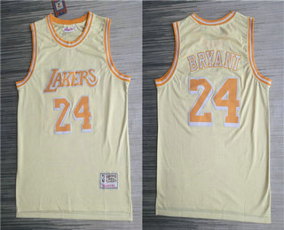 Men's Los Angeles Lakers #24 Kobe Bryant Gold Hardwood Classics Soul Throwback Limited Jersey