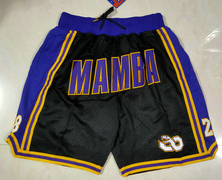 Men's Los Angeles Lakers #8 #24 Kobe Bryant Black Mamba Black Just Don Swingman Throwback Shorts