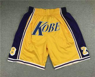 Men's Los Angeles Lakers #8 #24 Kobe Bryant Yellow Just Don