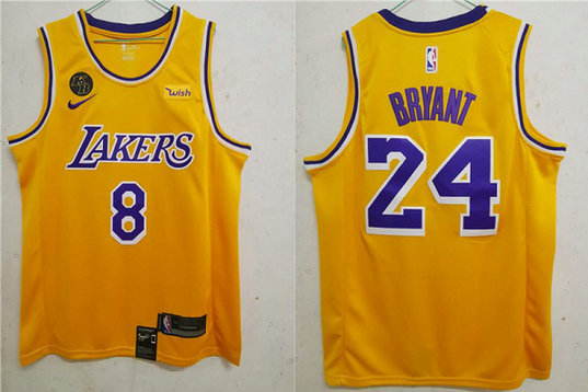 Men's Los Angeles Lakers #8 #24 Kobe Bryant Yellow With KB Patch 2020 Nike Wish Swingman Stitched NBA Jersey