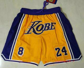 Men's Los Angeles Lakers #8 #24 Kobe Bryant Yellow With Purple