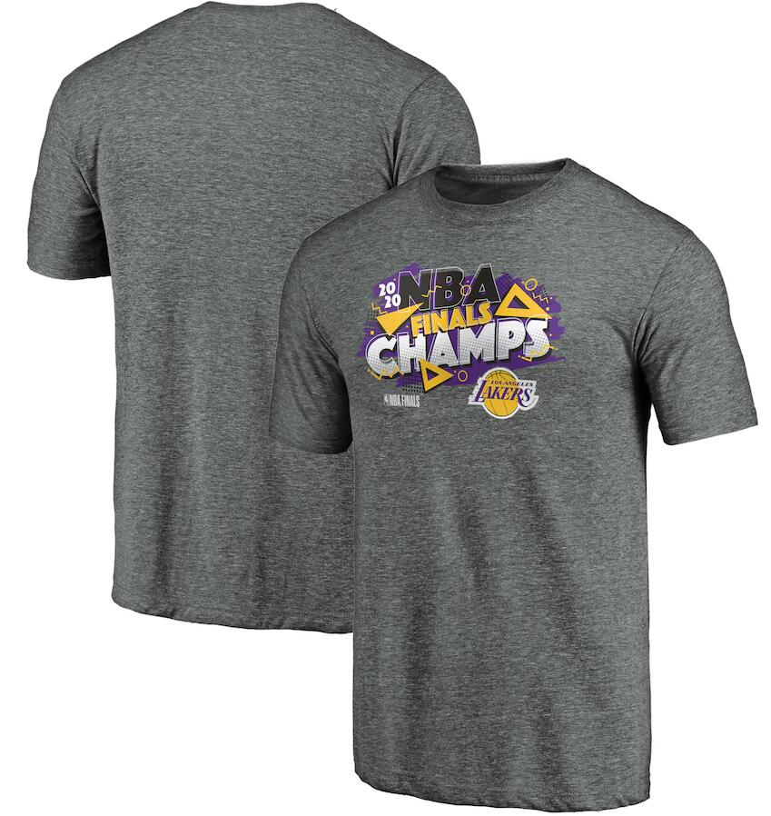 Men's Los Angeles Lakers Fanatics Gray 2020 NBA Finals Champions Saved By The Buzzer Tri Blend T-Shirt