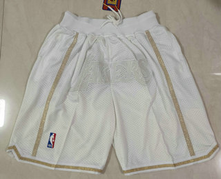 Men's Los Angeles Lakers White MVP Just Don Swingman Throwback Shorts