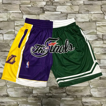 Men's Los Angeles Lakers and Boston Celtics Purle With Green 2008 The Finals Patch Split Hardwood Classics Soul Swingman Throwback Shorts