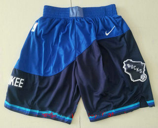 Men's Milwaukee Blue Nike 2021 Swingman Stitched NBA Shorts