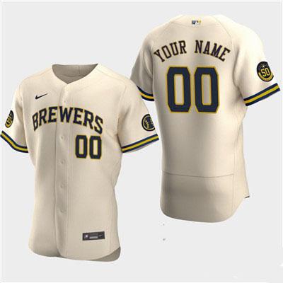 Men's Milwaukee Brewers Custom 50th Anniversary 2020 Cream Flexbase Jersey