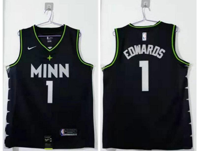 Men's Minnesota Timberwolves #1 Anthony Edwards Black 2021 Nike City Edition Swingman Stitched NBA Jersey