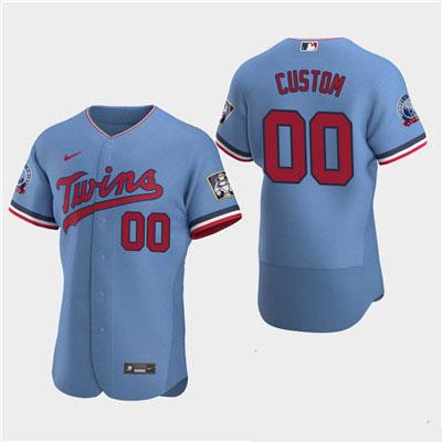 Men's Minnesota Twins Custom 60th Season Anniversary 2020 Light Blue Flexbase Jersey