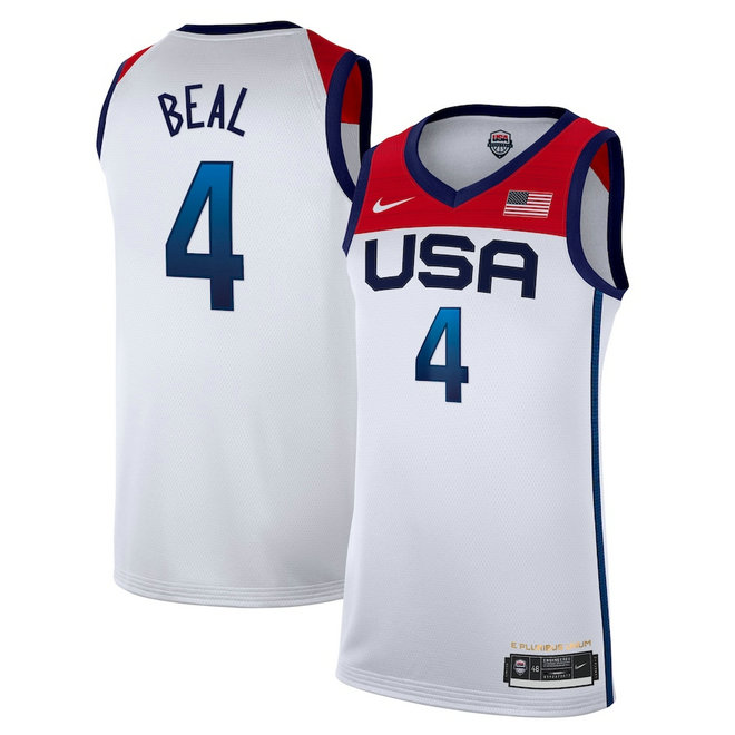 Men's Nike Bradley Beal White USA Basketball 2020 Summer Olympics Player Jersey