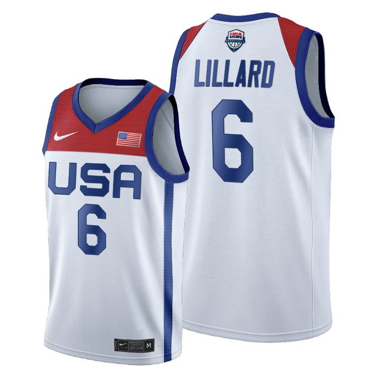 Men's Nike Damian Lillard White USA Basketball 2020 Summer Olympics Player Jersey