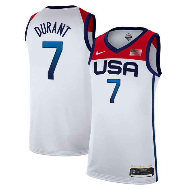 Men's Nike Kevin Durant White USA Basketball 2020 Summer Olympics Player Jersey