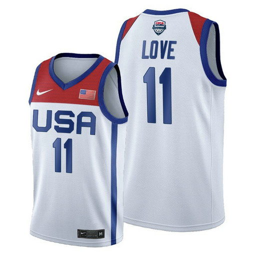 Men's Nike Kevin Love White USA Basketball 2020 Summer Olympics Player Jersey