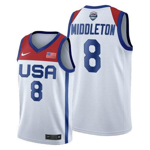 Men's Nike Khris Middleton White USA Basketball 2020 Summer Olympics Player Jersey
