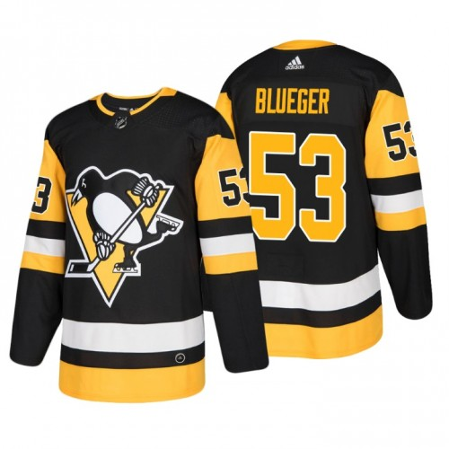 Men's Penguins #53 Teddy Blueger black Authentic Stitched Hockey Jersey