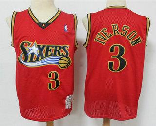Men's Philadelphia 76ers #3 Allen Iverson Red Hardwood Classics Reload Swingman Throwback Jersey