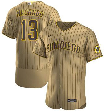 Men's San Diego Padres #13 Manny Machado Tan Brown Alternate Player Jersey