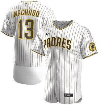 Men's San Diego Padres #13 Manny Machado White Brown Alternate Player Jersey