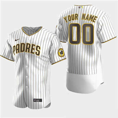 Men's San Diego Padres Custom Alternate White Brown Flexbase Jersey