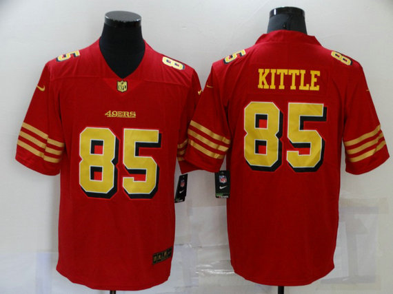 Men's San Francisco 49ers #85 George Kittle Red Gold 2021 Vapor Untouchable Stitched NFL Nike Limited Jersey