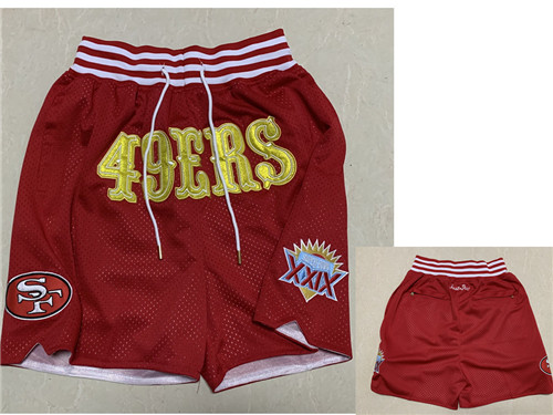 Men's San Francisco 49ers Red XXIX Super Bowl Patch Just Don Shorts
