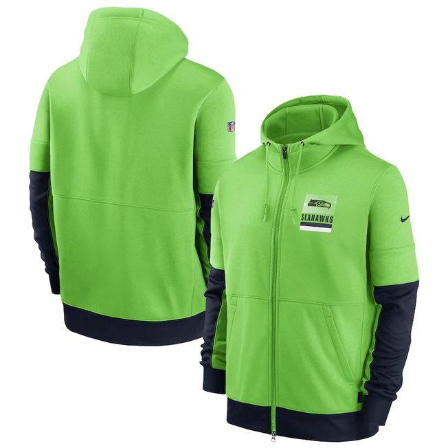 Men's Seattle Seahawks New 2020 Nike Green Black Fan Gear Mascot Performance Full Zip Hoodie