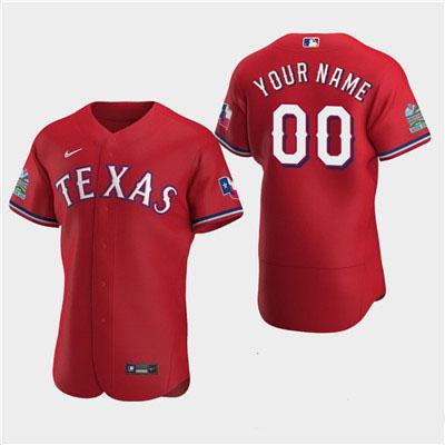 Men's Texas Rangers Custom 2020 Alternate Flexbase Red Jersey