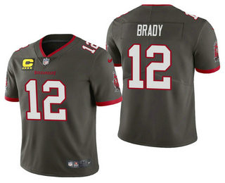Men's Tom Brady Tampa Bay Buccaneers Pewter Captain Patch Vapor Limited Jersey
