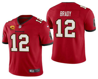 Men's Tom Brady Tampa Bay Buccaneers Red Captain Patch Vapor Limited Jersey