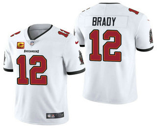 Men's Tom Brady Tampa Bay Buccaneers White Captain Patch Vapor Limited Jersey