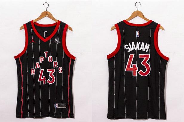 Men's Toronto Raptors #43 Pascal Siakam Black 2021 Brand Jordan City Edition Swingman Jersey With The Sponsor Logo