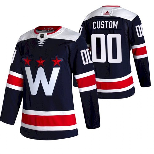 Men's Washington Capitals #00 Custom 2021 Third Navy Jersey