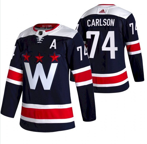 Men's Washington Capitals #74 John Carlson NEW Navy Blue Stitched NHL Jersey