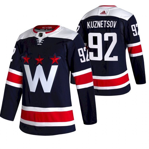 Men's Washington Capitals #92 Evgeny Kuznetsov NEW Navy Blue Stitched NHL Jersey