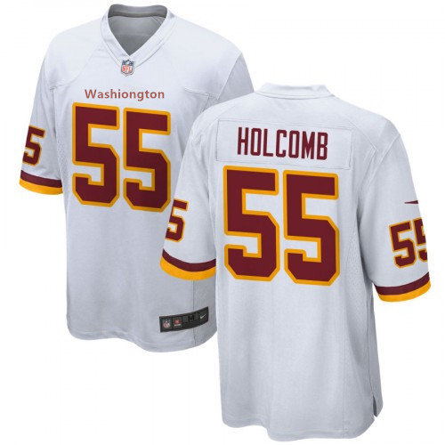 Men's Washington Football Team #55 Cole Holcomb White Jersey
