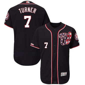 Men's Washington Nationals #7 Trea Turner Majestic Navy Alternate Flex Base Player Jersey
