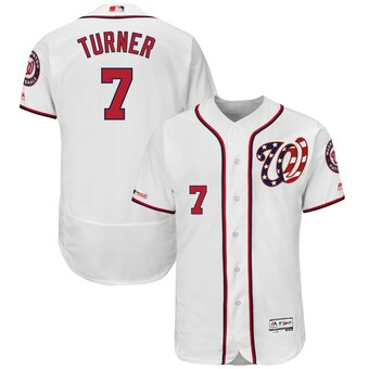 Men's Washington Nationals #7 Trea Turner White Flex Base Jersey