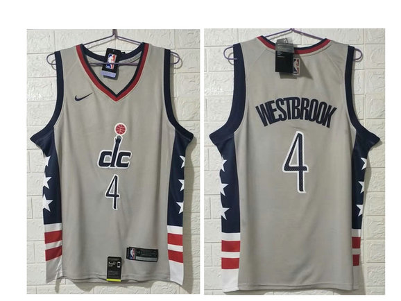 Men's Washington Wizards #4 Russell Westbrook NEW Grey 2021 City Edition NBA Swingman Jersey