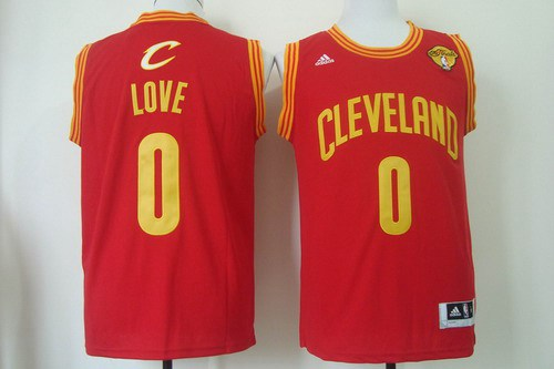 Men Cleveland Cavaliers 0 Kevin Love 2016 The NBA Finals Patch Red Swingman Jersey