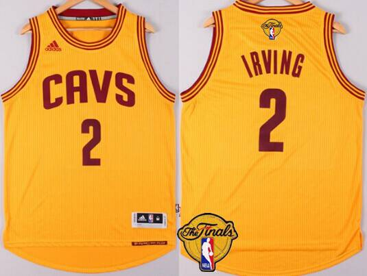 Men Cleveland Cavaliers 2 Kyrie Irving 2016 The NBA Finals Patch Yellow Jersey